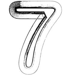 Grunge Font number 7 vector image vector image