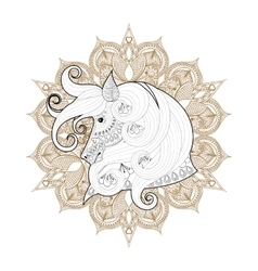 Hand drawn zentangle ornamental horse on mehendi vector