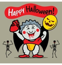 Happy Halloween Cute Crazy Vampire Cartoon vector image vector image