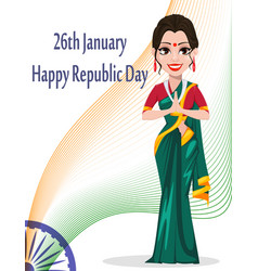 indian republic day greeting card with beautiful vector image