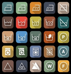Laundry flat icons with long shadow vector