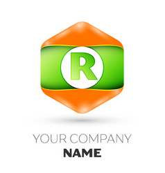 Letter r logo in the colorful hexagonal vector