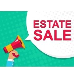 Megaphone with estate sale announcement flat vector