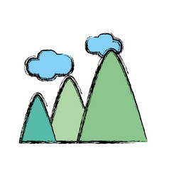 Mountains with clouds and natural landscape vector
