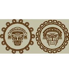 Native American masks in circular pattern vector image vector image
