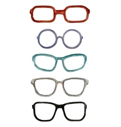 Set of watercolor male glasses vector
