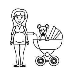 Silhouette woman pregnant and her baby icon vector