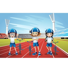 Three kids riding bike on the track vector image vector image