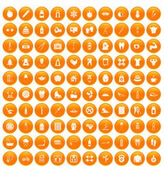 100 fit body icons set orange vector