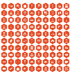 100 working professions icons hexagon orange vector image vector image