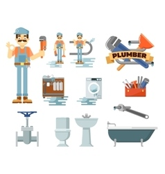 Professional plumbing repair service set vector image