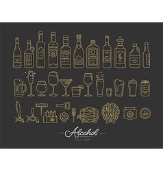 Flat alcohol icons gold vector