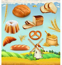 Farm wheat and bread food 3d set vector