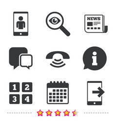 phone icons call center support symbol vector image