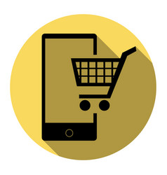 Shopping on smart phone sign flat black vector