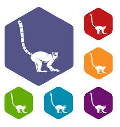 lemur monkey icons set hexagon vector image