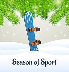 Season of sport blue snowboard vector
