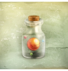 Atom in a bottle old style vector image