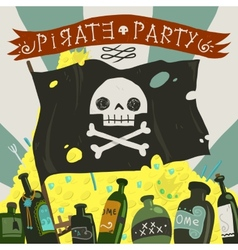 Pirate party card vector