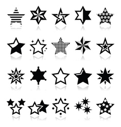 Stars black icons with reflection isolated on whit vector