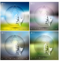 Abstract 3d pyramids infographic templates set vector