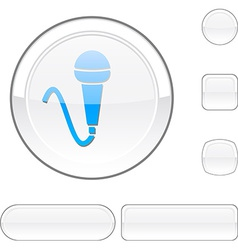 Mic white button vector