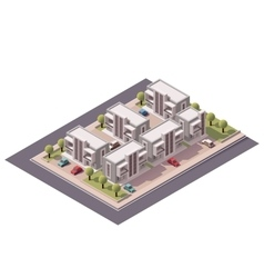 Isometric townhouses set vector