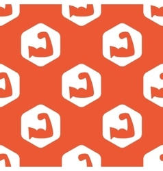 Orange hexagon muscular arm pattern vector