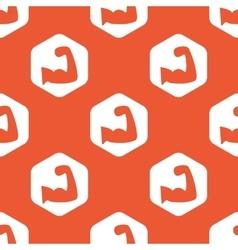 Orange hexagon muscular arm pattern vector image