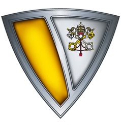 Steel shield with flag vatican vector
