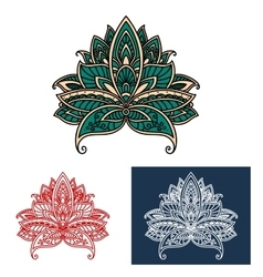 Ornamental turkish paisley flower design elements vector