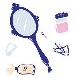 Vintage blue hand mirror isolated on white icon vector