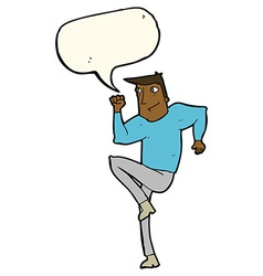 Cartoon man jogging on spot with speech bubble vector