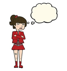 Cartoon cool girl with thought bubble vector