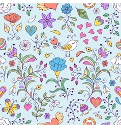 Floral background with bird and flowers vector