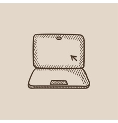 Laptop with cursor sketch icon vector