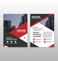 Red triangle Brochure Leaflet Flyer template set vector image