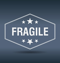 Fragile hexagonal white vintage retro style label vector