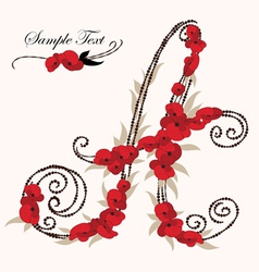 A hand drawn flower alphabet vector image