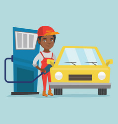 African worker of gas station refueling a car vector