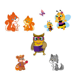 animals isolated on white vector image