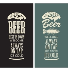 Beer glasses from the inscriptions vector