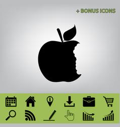 Bite apple sign black icon at gray vector