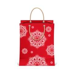Christmas shopping bag with snowflakes vector image