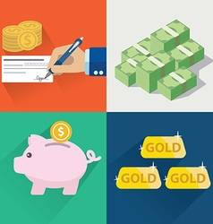 Collection of flat and colorful money and finial vector