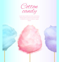 Cotton candy banner with sweet floss spun sugar vector