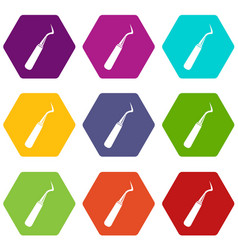 dental probe icon set color hexahedron vector image vector image