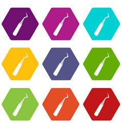 Dental probe icon set color hexahedron vector