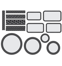 design elements with greek pattern vector image