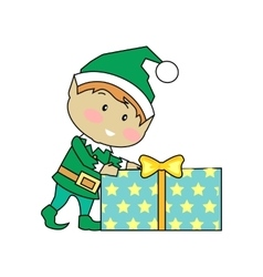 Fairy elves with christmas presents vector